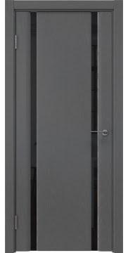 Межкомнатная дверь, GM016 (шпон ясень серый, триплекс черный)