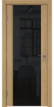Межкомнатная дверь GM017 (натуральный шпон дуба / триплекс черный) — 5598