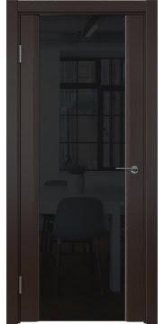 Межкомнатная дверь, GM017 (шпон венге, триплекс черный)