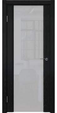 Межкомнатная дверь GM017 (шпон ясень черный / триплекс белый) — 5840