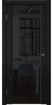 Межкомнатная дверь GM017 (шпон ясень черный / триплекс черный) — 5841