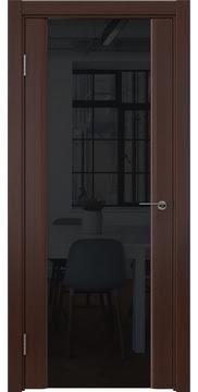 Межкомнатная дверь, GM017 (шпон итальянский орех, триплекс черный)