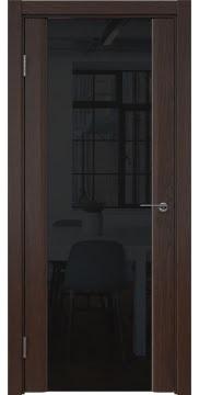 Межкомнатная дверь, GM017 (шпон дуб коньяк, триплекс черный)