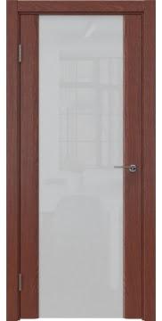 Межкомнатная дверь, GM017 (шпон красное дерево, триплекс белый)
