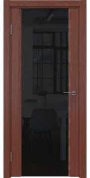 Межкомнатная дверь, GM017 (шпон красное дерево, триплекс черный)
