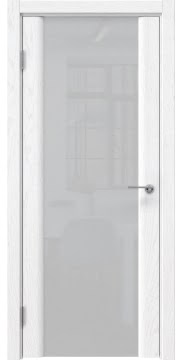 Межкомнатная дверь, GM017 (шпон белый ясень, триплекс белый)
