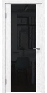 Межкомнатная дверь GM017 (шпон ясень белый / триплекс черный) — 5604