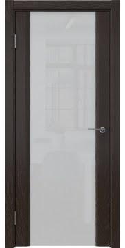 Межкомнатная дверь GM017 (шпон ясень темный / триплекс белый) — 5607