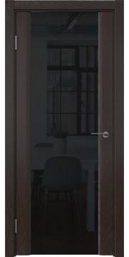 Межкомнатная дверь GM017 (шпон ясень темный / триплекс черный) — 5608