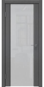 Межкомнатная дверь, GM017 (шпон ясень серый, триплекс белый)