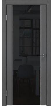 Межкомнатная дверь, GM017 (шпон ясень серый, триплекс черный)