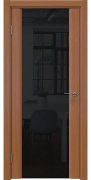 Межкомнатная дверь, GM017 (шпон анегри, триплекс черный)