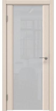 Межкомнатная дверь, GM017 (шпон беленый дуб, триплекс белый)