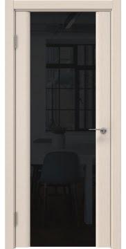 Шпонированная дверь, покрытая лаком, GM017 (шпон беленый дуб, триплекс черный)