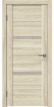 Межкомнатная дверь, каркас из массива сосны и МДФ, GM019 (экошпон клен экрю, лакобель бежевый)