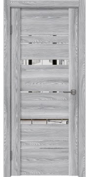 Межкомнатная дверь, GM019 (экошпон ясень грей, зеркало)
