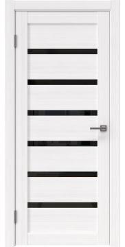Межкомнатная дверь, RM002 (экошпон белый FL, лакобель черный)