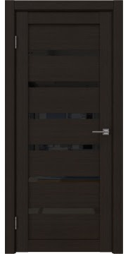Межкомнатная дверь, RM002 (экошпон венге FL, лакобель черный)