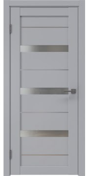 Межкомнатная дверь, RM005 (экошпон серый, матовое стекло)