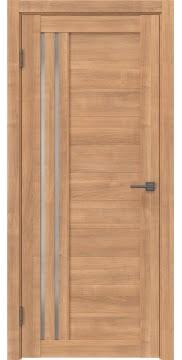 Межкомнатная дверь, RM007 (экошпон миндаль, матовое стекло)