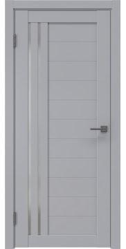 Межкомнатная дверь, RM007 (экошпон серый, матовое стекло)