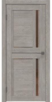 Межкомнатная дверь RM012 (экошпон «дымчатый дуб» / стекло бронзовое) — 1014