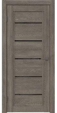 Межкомнатная дверь RM017 (экошпон «серый дуб» / лакобель черный) — 0232