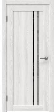 Межкомнатная дверь, RM023 (экошпон ясень айс, лакобель черный)