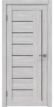 Межкомнатная дверь, RM025 (экошпон серый дуб FL, лакобель черный)