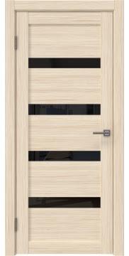 Межкомнатная дверь RM027 (экошпон «беленый дуб FL», лакобель черный) — 9033