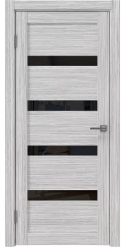 Межкомнатная дверь, RM027 (экошпон серый дуб FL, лакобель черный)