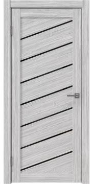 Межкомнатная дверь, RM029 (экошпон серый дуб FL, лакобель черный)