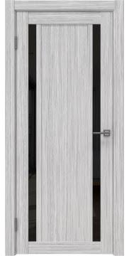 Межкомнатная дверь, RM031 (экошпон серый дуб FL, лакобель черный)