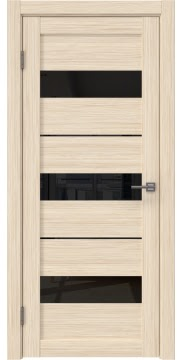 Межкомнатная дверь, RM034 (экошпон беленый дуб FL, лакобель черный)