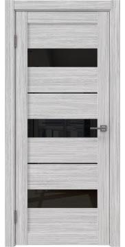 Межкомнатная дверь, RM034 (экошпон серый дуб FL, лакобель черный)