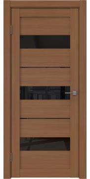 Межкомнатная дверь в стиле модерн, RM034 (экошпон орех FL, лакобель черный)