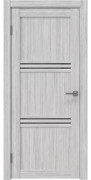 Межкомнатная дверь, RM036 (экошпон серый дуб FL, лакобель черный)