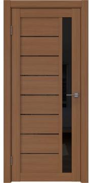 Межкомнатная дверь, RM037 (ПВХ цвета орех, остекленная)