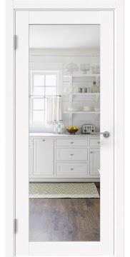 Межкомнатная дверь, RM048 (экошпон белый (под эмаль), зеркало с одной стороны)