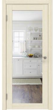 Межкомнатная дверь, RM048 (экошпон дуб млечный, зеркало)