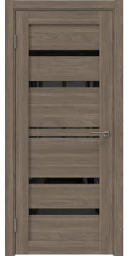 Межкомнатная дверь, RM049 (экошпон античный орех, лакобель черный)