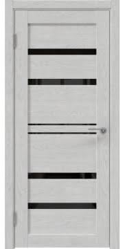 Межкомнатная дверь, RM049 (экошпон серый дуб, лакобель черный)