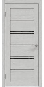 Межкомнатная дверь, RM051 (экошпон серый дуб, лакобель черный)