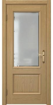 Межкомнатная дверь, SK002 (шпон дуб натуральный, остекленная)