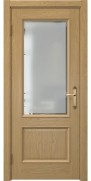 Межкомнатная дверь SK002 (натуральный шпон дуба / стекло рамка) — 5029