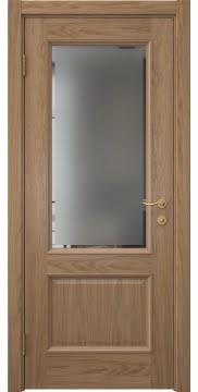 Шпонированная дверь в стиле классика, SK002 (шпон дуб светлый, стекло с фацетом)