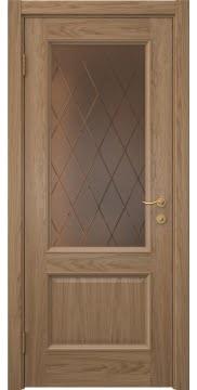 Классическая дверь с деревянным каркасом, SK002 (дуб светлый, остекленная)
