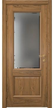 Межкомнатная дверь, SK002 (шпон дуб античный с патиной, стекло с фацетом)