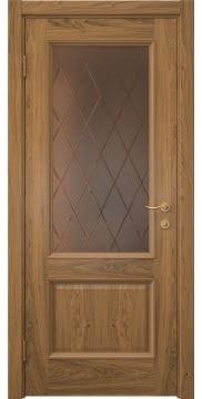 Межкомнатная дверь SK002 (шпон дуб античный с патиной / сатинат бронзовый ромб) — 5909
