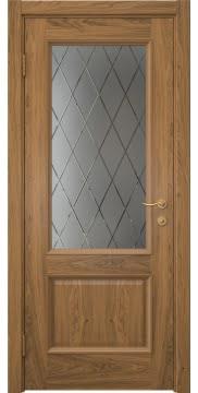 Межкомнатная дверь SK002 (шпон дуб античный с патиной / сатинат ромб) — 5908